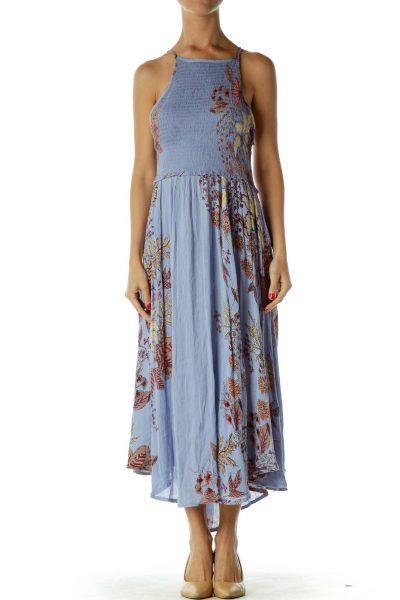 Blue Racerback Flower Print Midi Dress