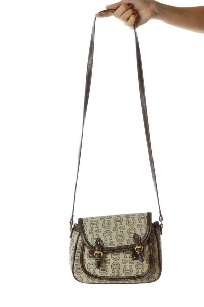 Brown Beige Monogrammed Crossbody Bag