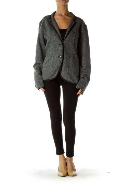Gray Wool Buttoned Blazer