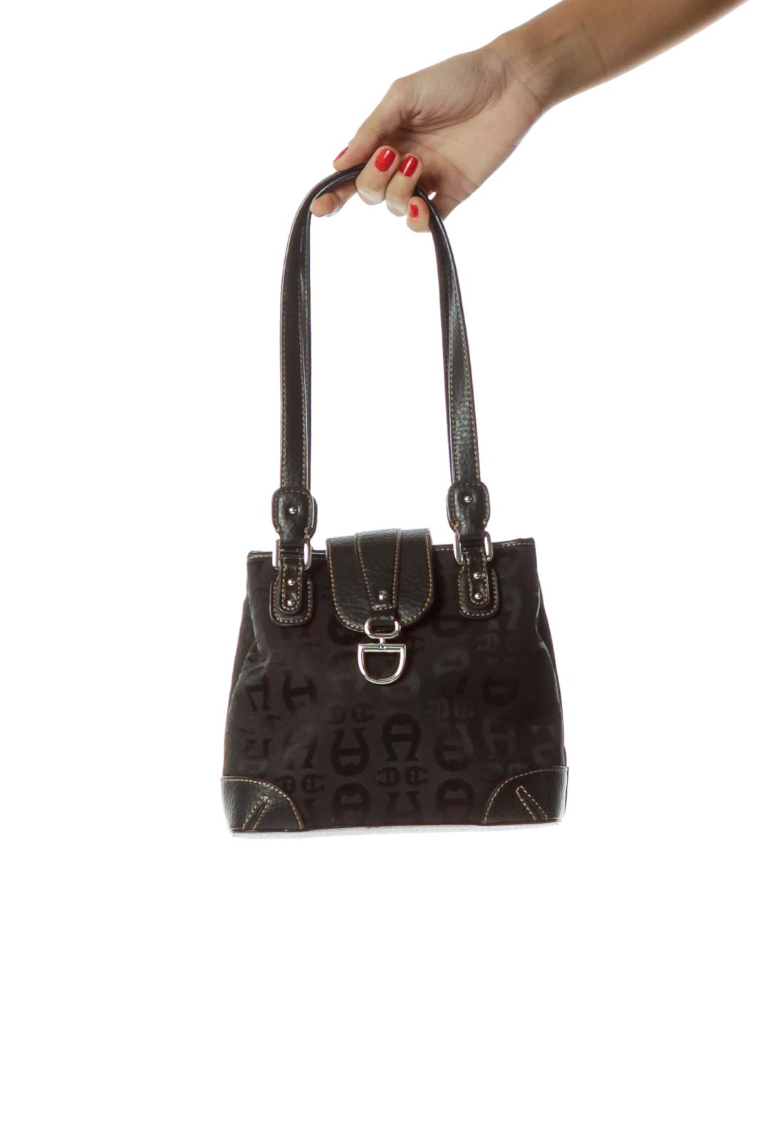 Black Monogrammed Leather Shoulder Bag