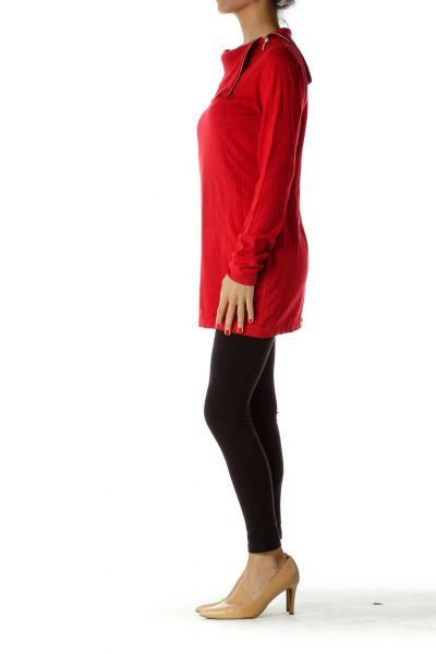 Red Knit Cowl Neck Sweater