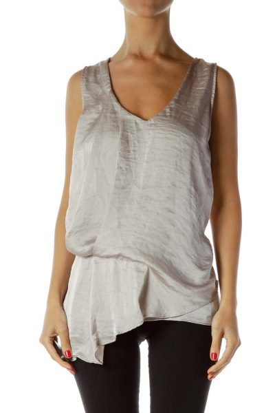 Beige Satin Sheen Asymmetric Blouse