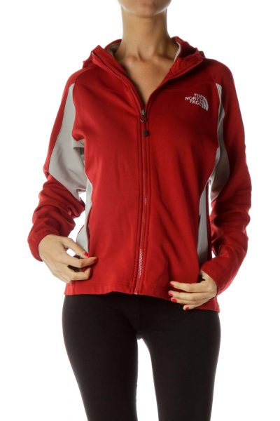 Red Gray Hooded Jacket