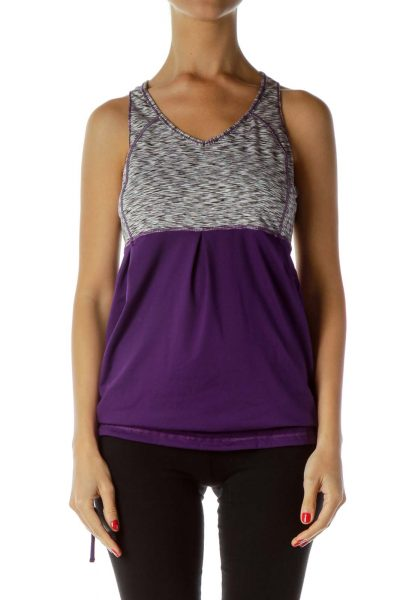 Purple Gray Mottled Racerback Yoga Top