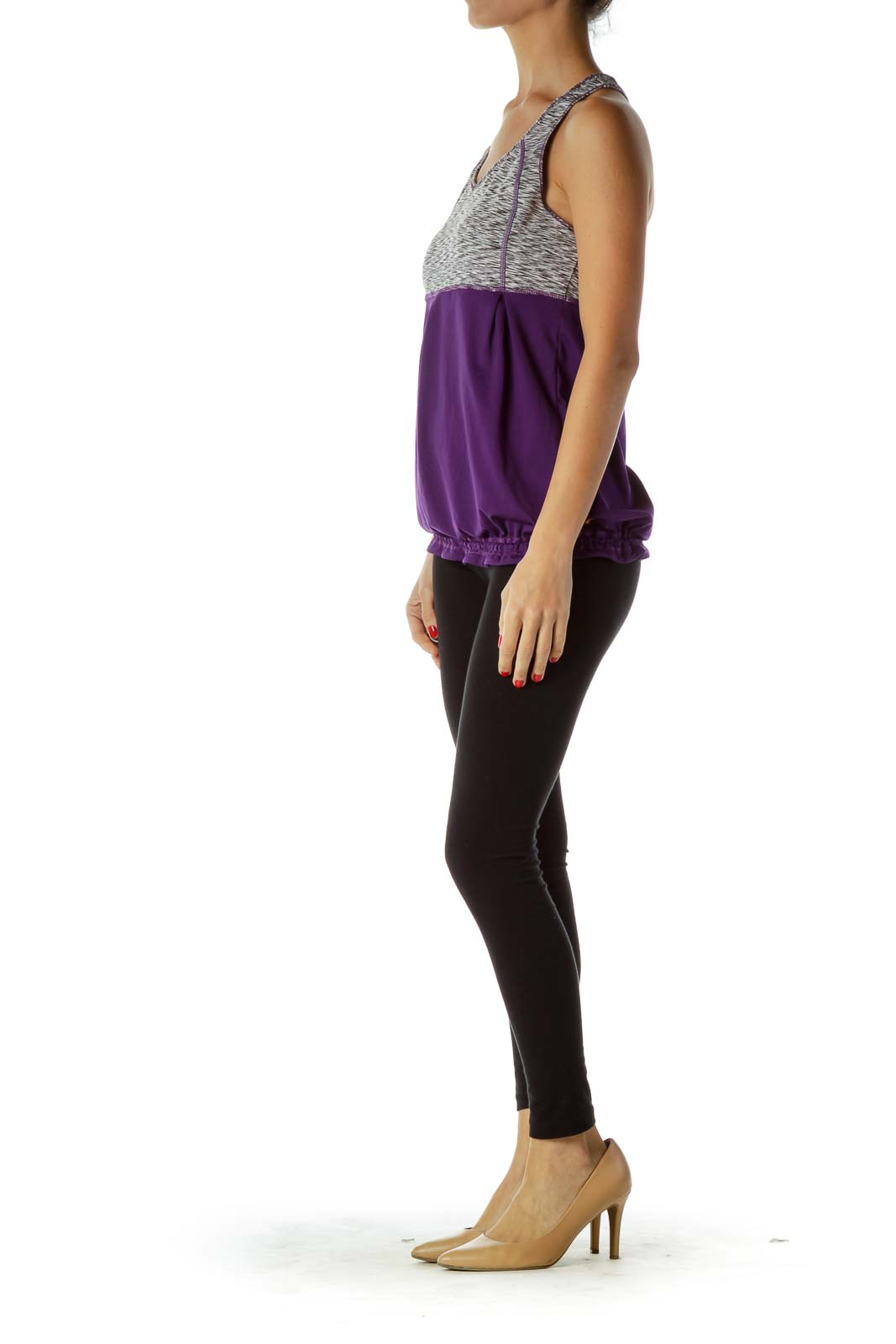 Purple Gray Mottled Racerback Yoga Top