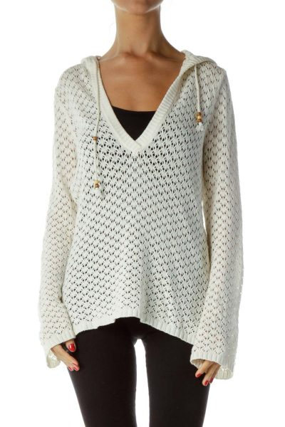 Cream Crocheted Hooded Sweater