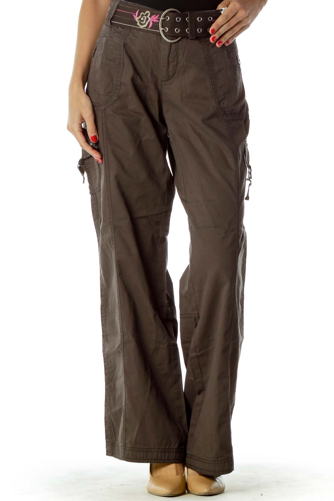 Brown Cargo Belted Pants