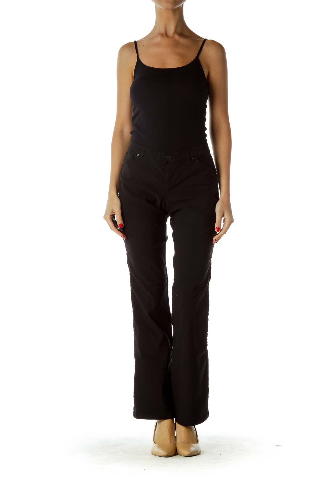 Black Satin Stripe Flared Pants