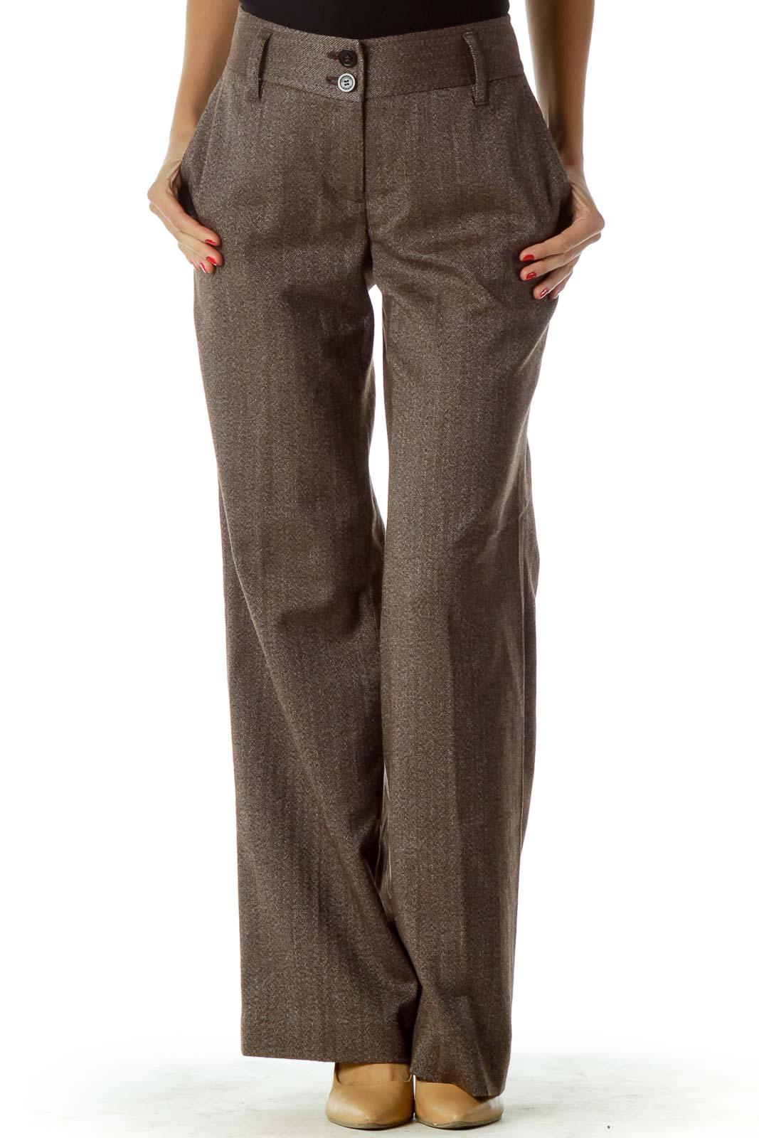 Brown Weave Detail Pants