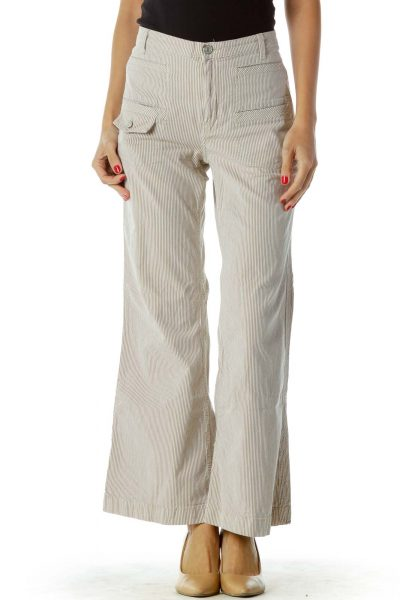 Brown Cream Pinstripe Flared Pants