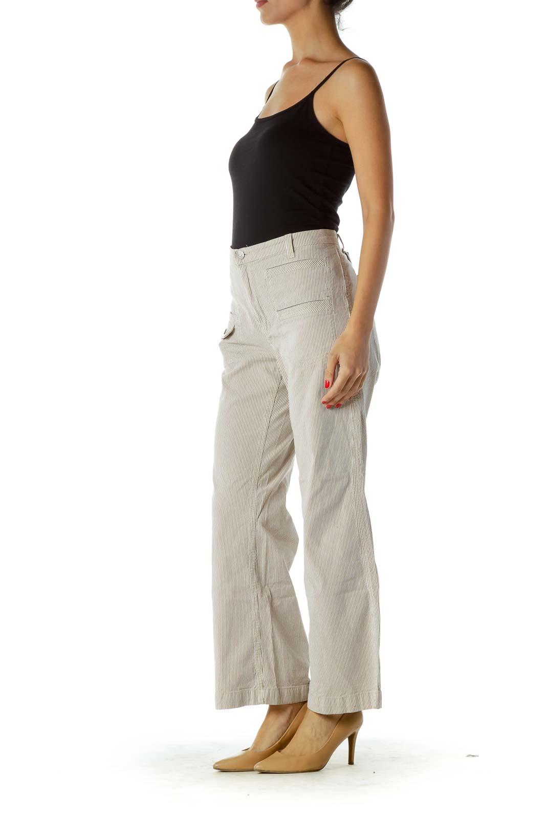 Brown Cream Pinstripe Flared Pants