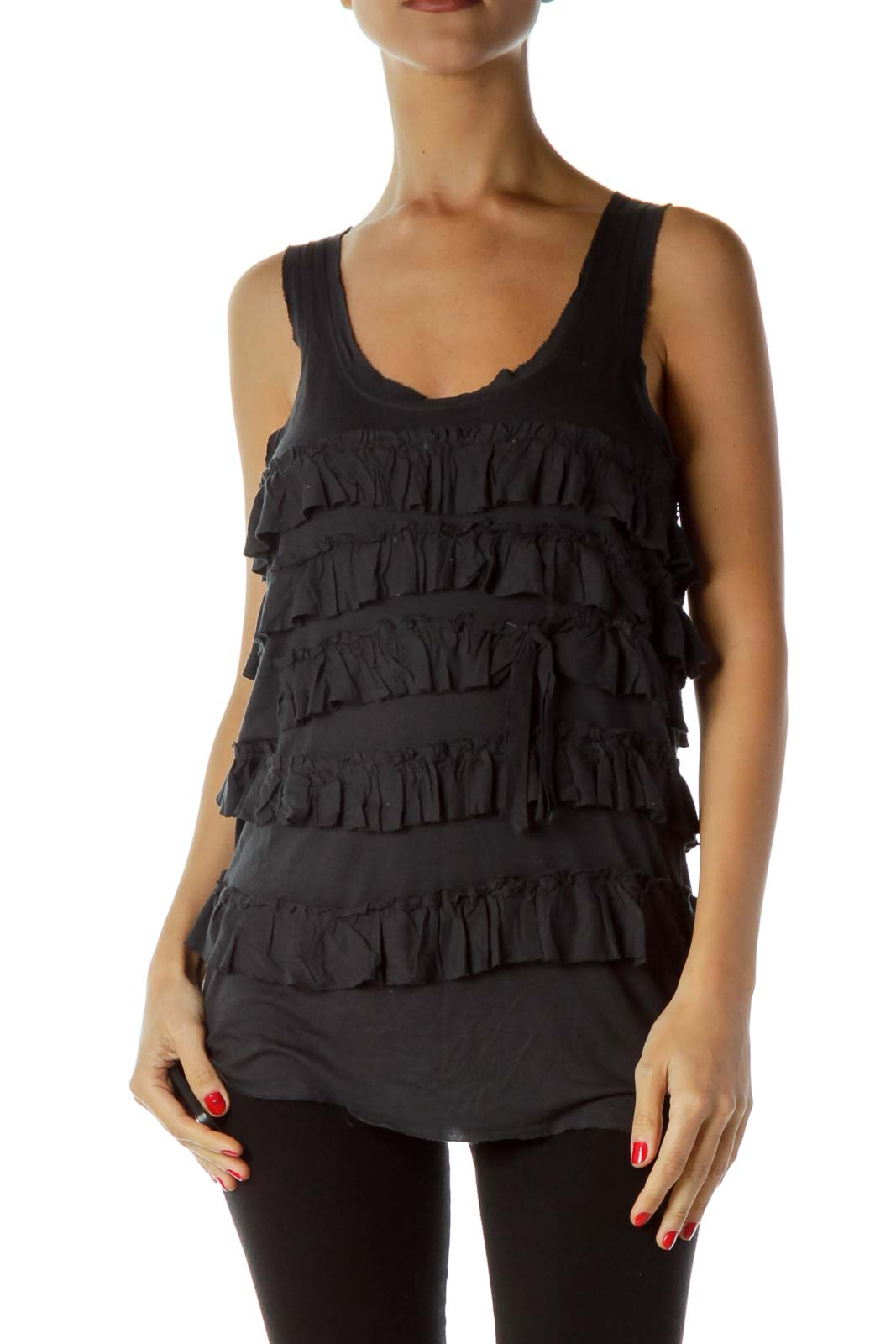 Black Ruffled Tank Top