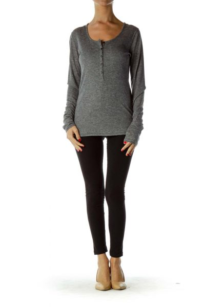 Grey Round Neck Long Sleeve Top