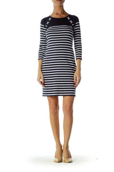 Blue and White Nautical Long Sleeve Dress