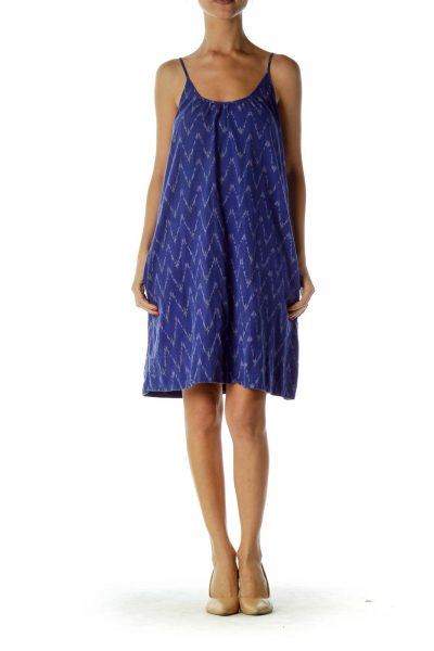 Blue Printed Day Dress