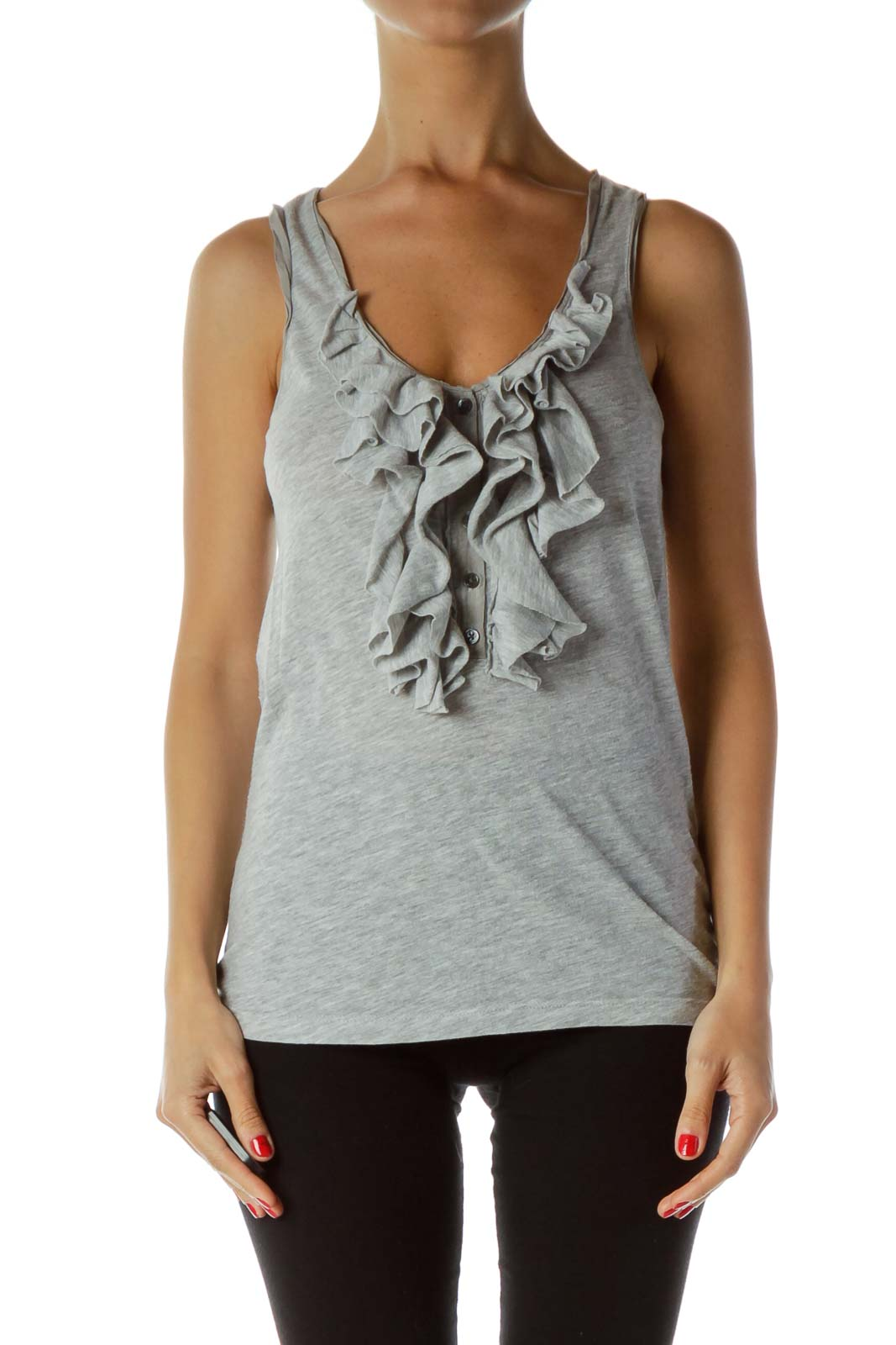 Grey Ruffled Tank Top