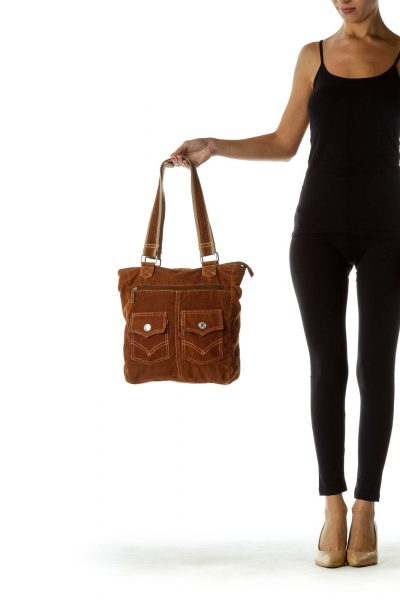 Brown Corduroy Tote Bag