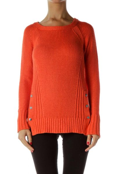 Orange Button Detail Cable Knit Sweater