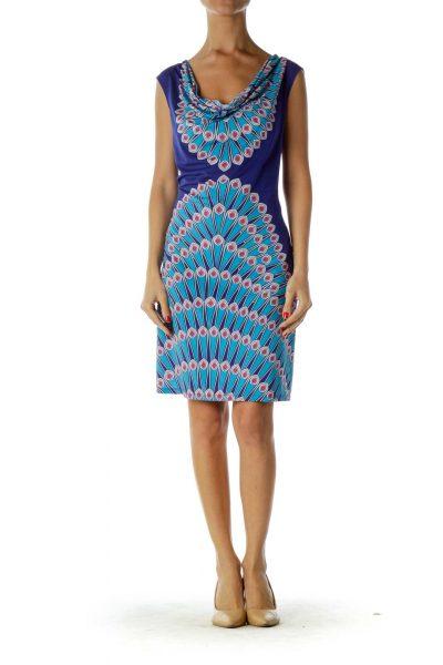 Royal Blue Peacock Print Dress
