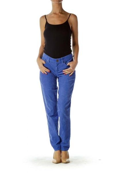Blue Corduroy Tapered Pants