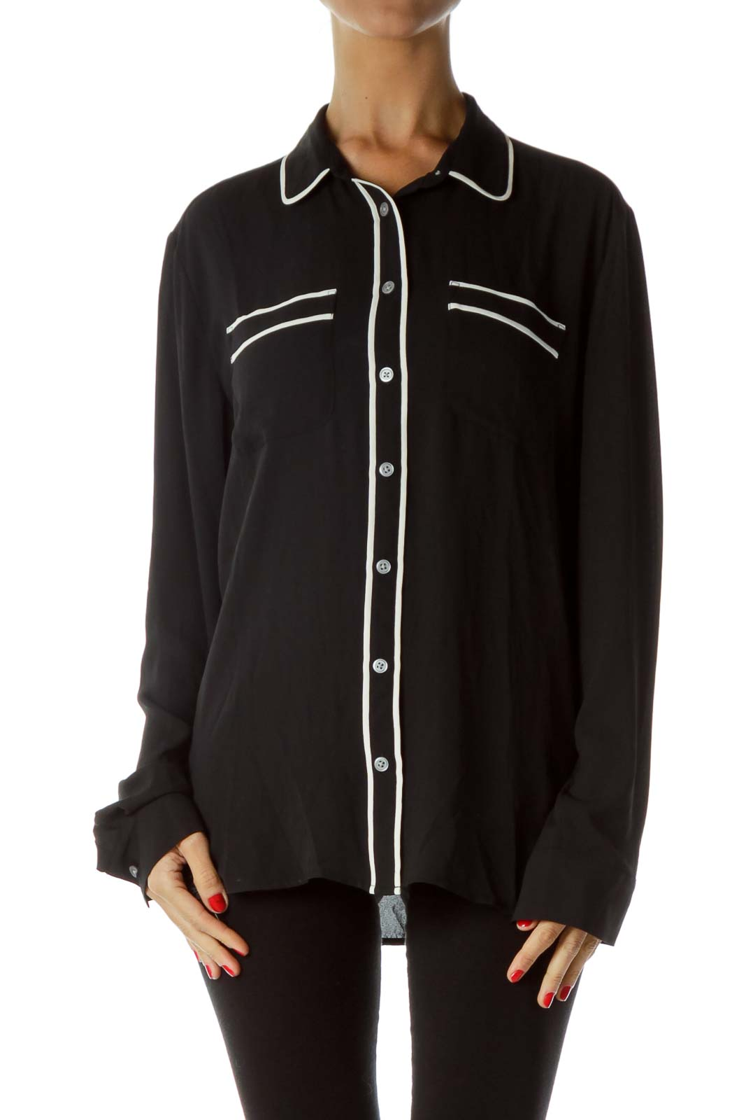 Black Button Down Shirt with White Piping