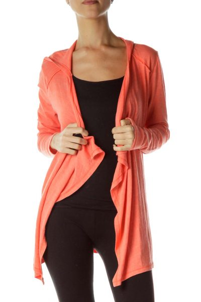 Orange Hooded Cardigan