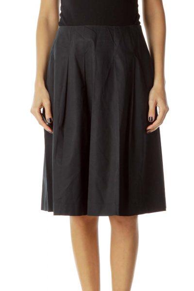 Black Flared Pocketed Skirt
