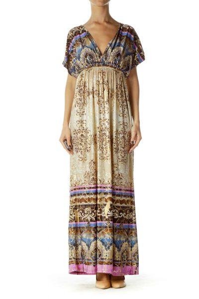 Beige Multicolor Maxi Dress