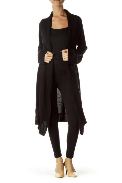 Black Oversized Knit Cardigan