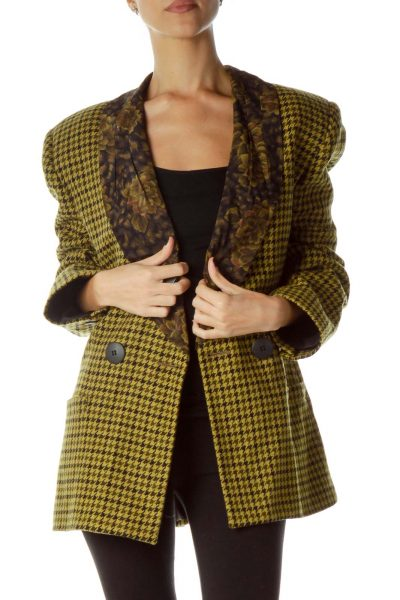 Yellow Black Houndstooth Suit