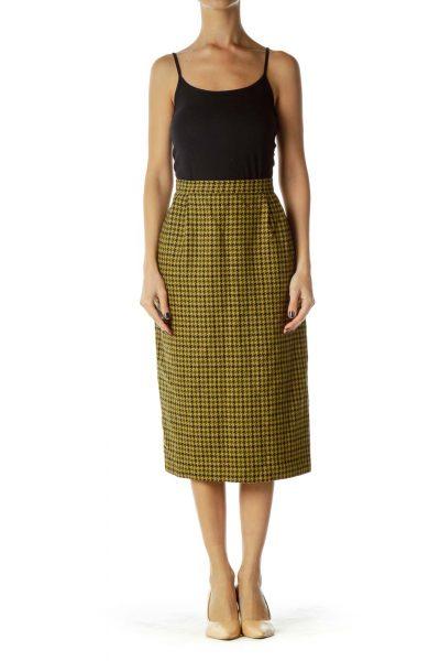 Yellow Black Pencil Skirt