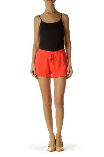 Orange Drawstring Ruffled Shorts
