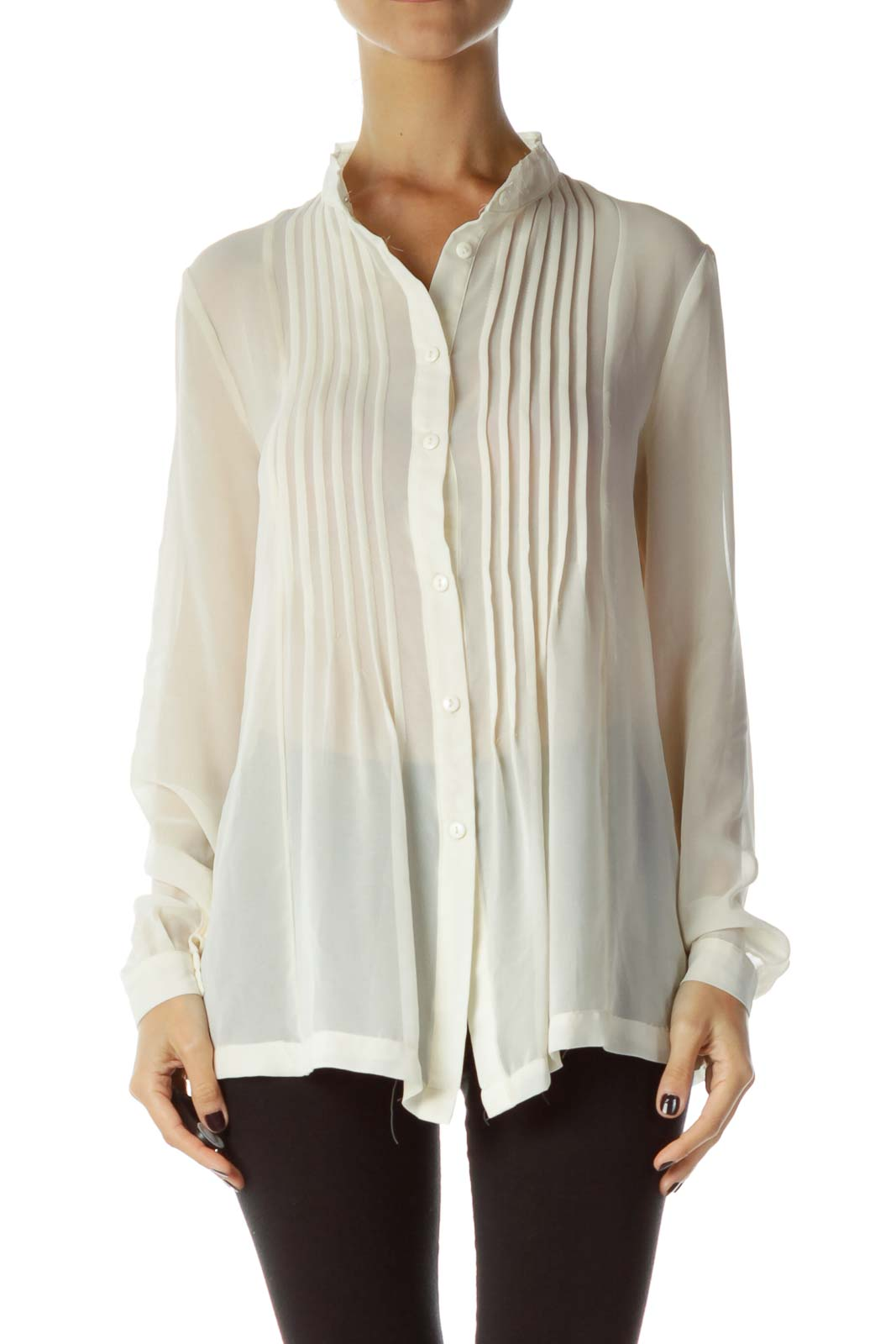 Cream Sheer Button Up Shirt