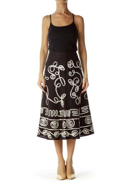 Black White Ribbon Stitched Flared Maxi Skirt