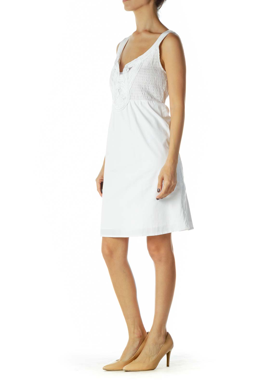 White Scrunched Sleeveless Day Dress