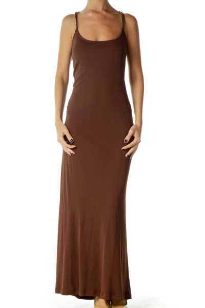 Brown Open Back Maxi Dress
