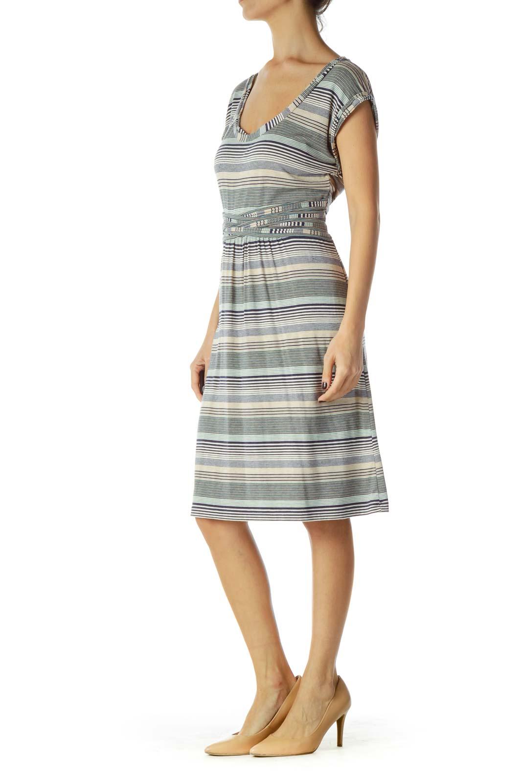 Navy Beige Striped Belted Day Dress
