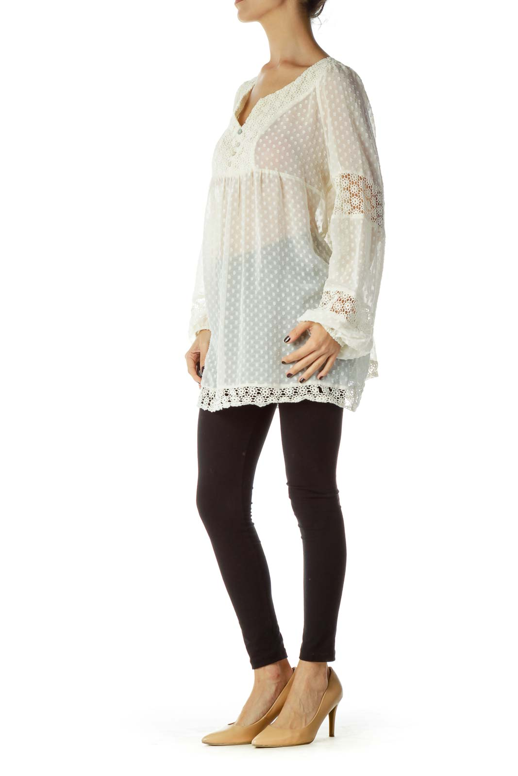 Cream See-through Crocheted Blouse