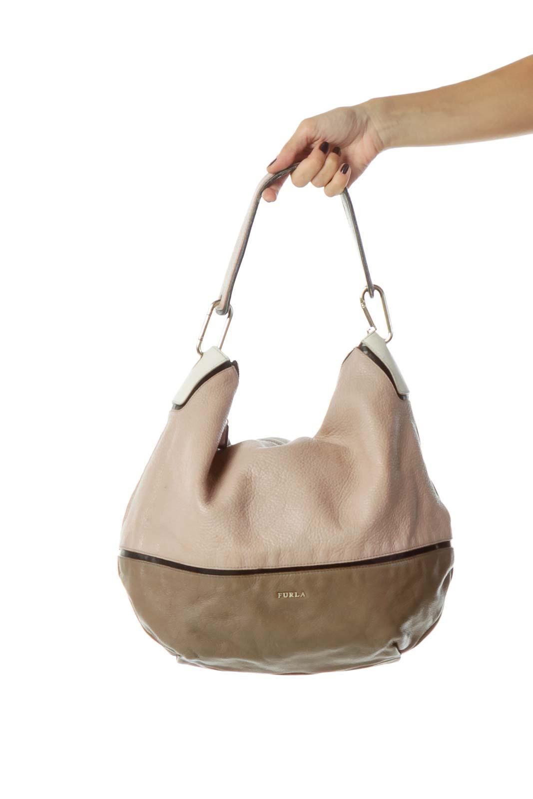 Brown Beige Leather Shoulder Bag