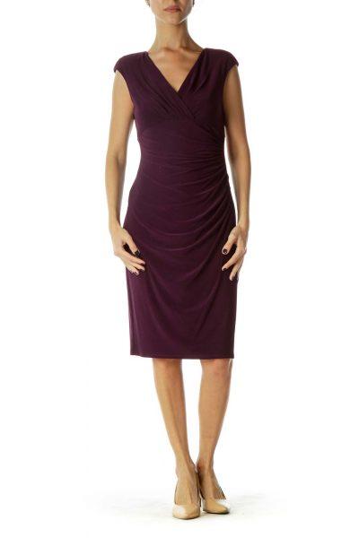 Burgundy Shoulder-Padded Scrunched Work Dress
