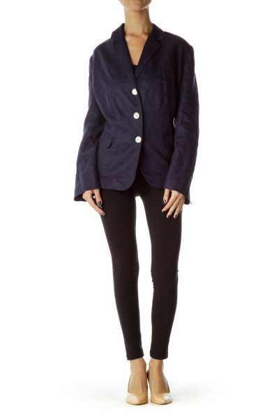 Navy White Buttoned Pocketed blazer