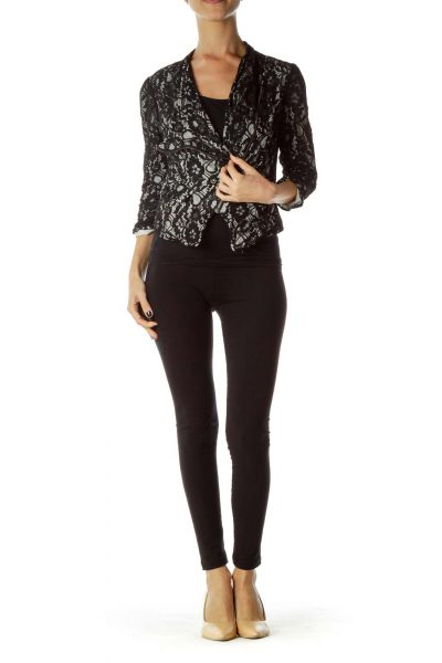Black White Lace Zipper Jacket
