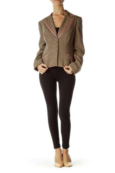 Brown Pink Checkered Blazer