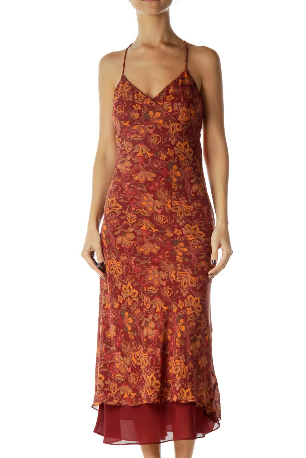 Burgundy Orange Floral Midi Silk Dress