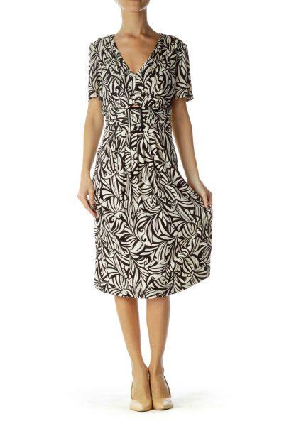 Black Cream Belted Work Dress