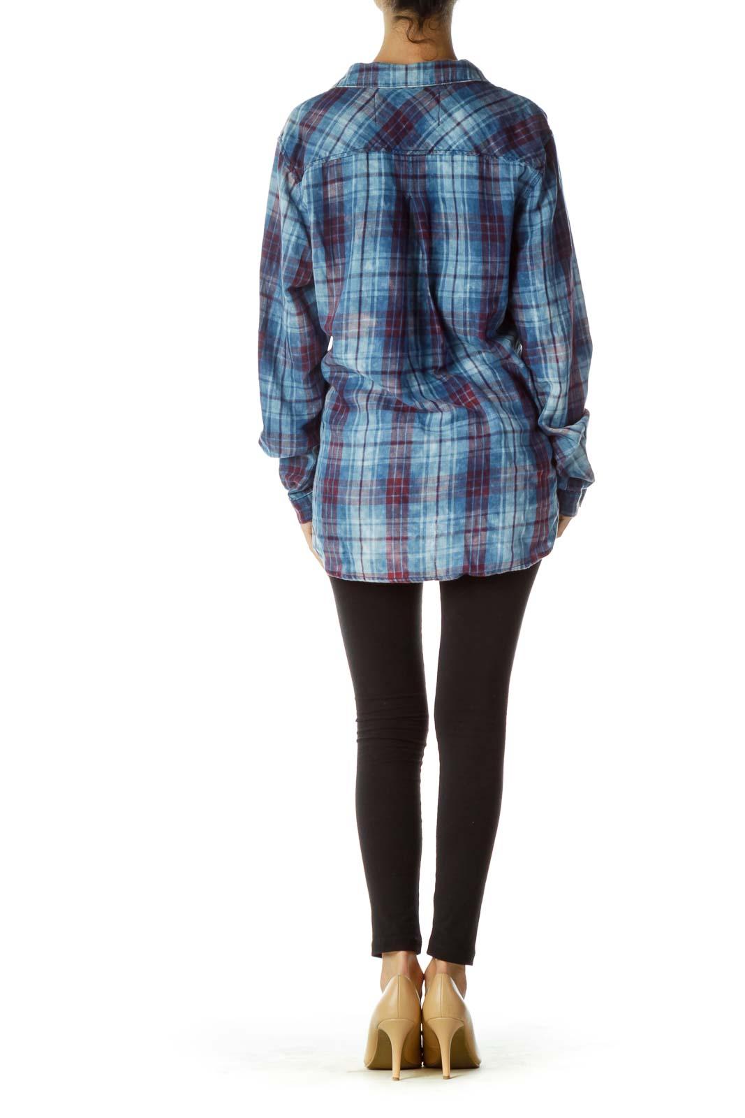 e2342aa23d05 Shop Blue Red Plaid Shirt clothing and handbags at SilkRoll. Trade ...