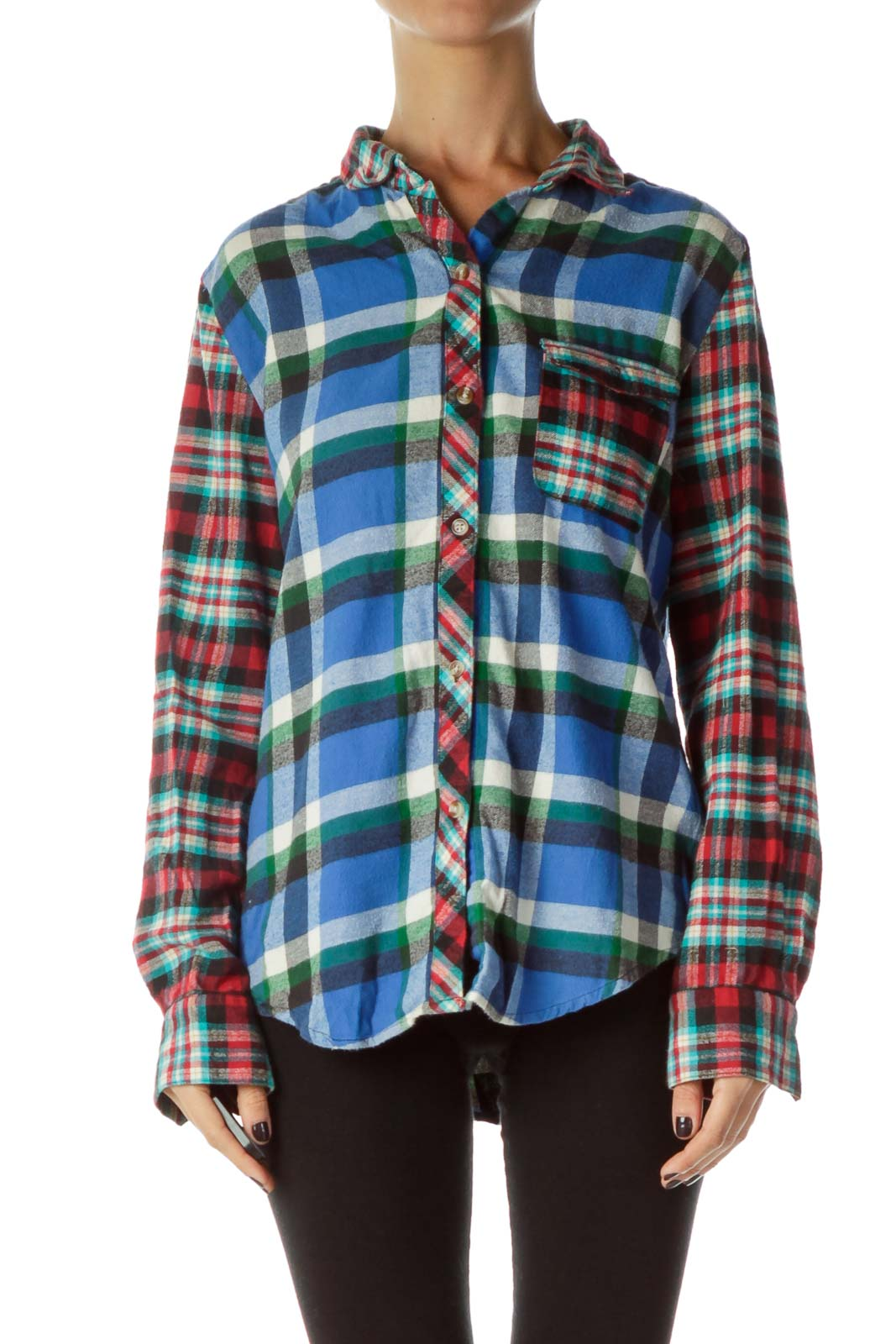Blue Green Plaid Shirt