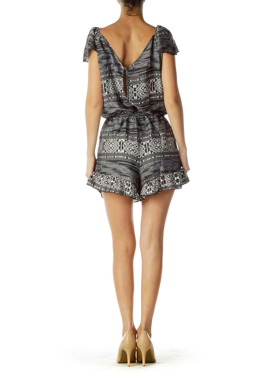 9ec71d9832b8 Shop Black Cream Printed Off-Shoulder Romper clothing and handbags ...