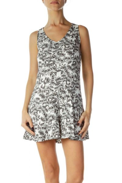 Black White Floral Romper