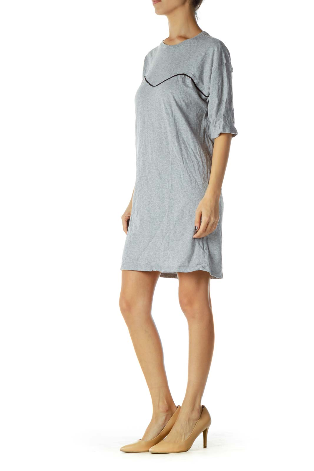 Gray Jersey-Knit Dress